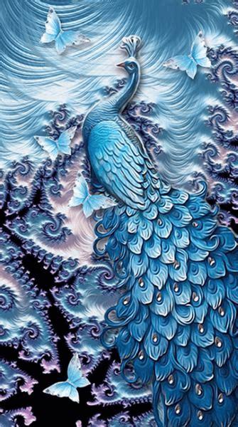fractal peacock  diamond painting diy  painting