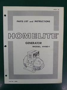 Homelite Generator Parts List Manual Hy50