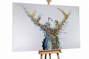 Gemälde Hirsch Modern : xxl lbild hirsch abstrakt bunt kaufen kunstloft ~ Orissabook.com Haus und Dekorationen