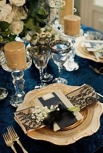 Deco Mariage Bleu Marine : mariage bleu marine et or la d coration mariage pinterest mariages en bleu marine ~ Teatrodelosmanantiales.com Idées de Décoration