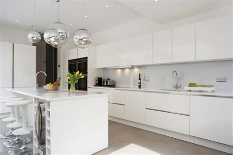 White gloss island kitchen   Contemporary   Kitchen