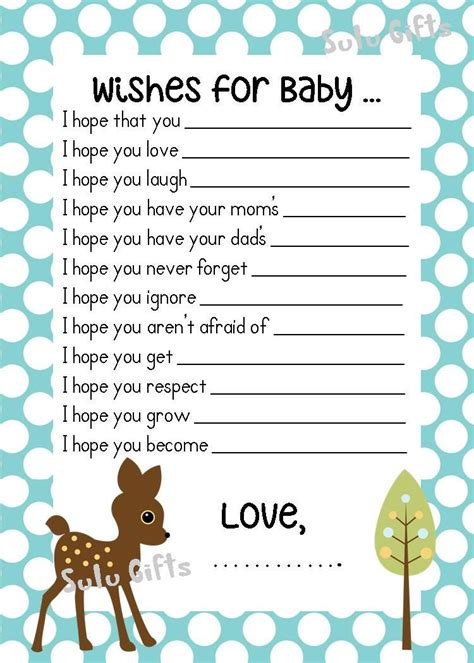 sale baby boy baby shower game wishes  baby advice