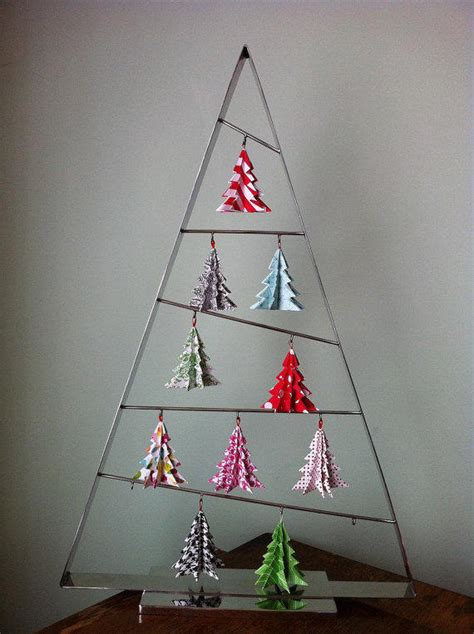 origami christmas tree ornaments bright from