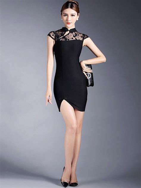 bodycon qipao cheongsam dress  lace yoke