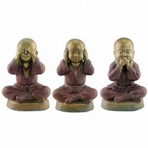 Statue Singe De La Sagesse : 3 figurines bouddhas de la sagesse 48 cm achat vente ~ Teatrodelosmanantiales.com Idées de Décoration