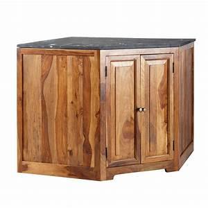 Meuble Angle Bois : meuble bas d 39 angle de cuisine en bois de sheesham massif l ~ Edinachiropracticcenter.com Idées de Décoration