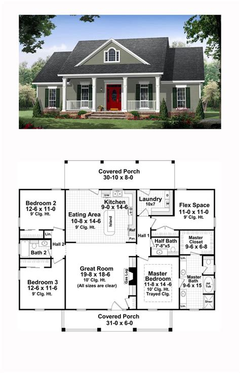 traditional style house plan    bed  bath  house plans garage house plans