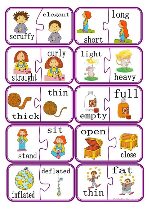 printable opposite worksheets for preschoolers opposites puzzle game part 2 worksheet free esl printable worksheets made by teachers