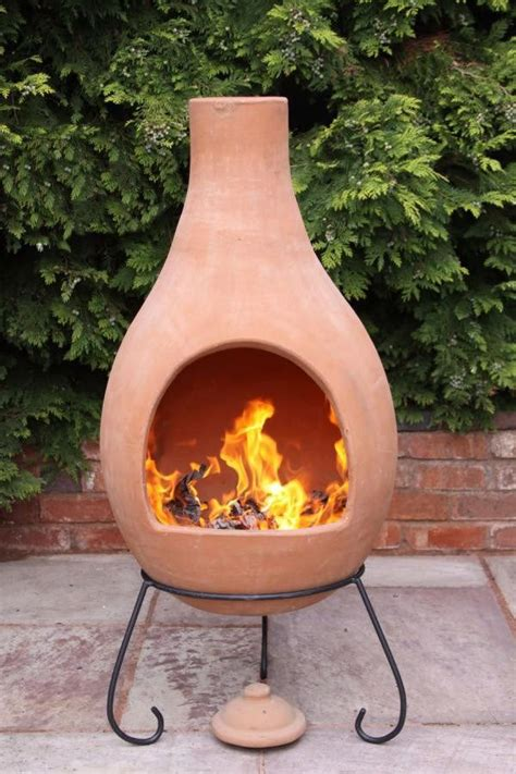 Clay fire bowl with bbq grill. Super Jumbo Mexican Clay Terracotta Chimenea | Fire pit chimney, Outdoor fire pit, Clay fire pit