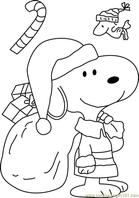 snoopy dressed  santa coloring page  christmas