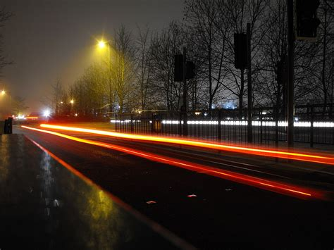 Car Light Trails On Sharsted Way