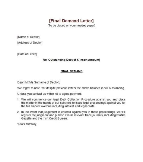 demand letter templates  samples template lab
