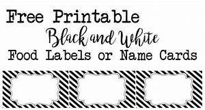 Black, And, White, Food, Labels, Or, Name, Cards