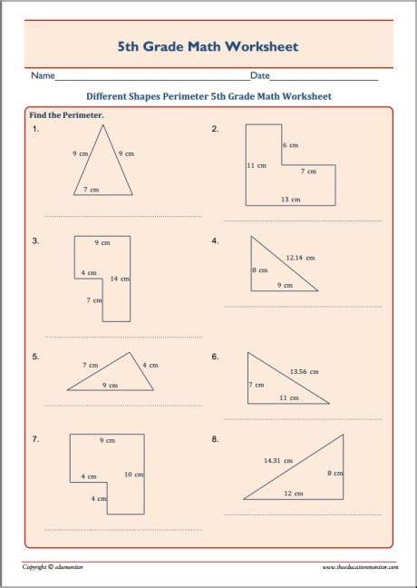 shapes perimeter  grade math worksheet