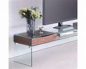 Meuble Pour Verre : meuble tv verre et bois meuble tv en promo objets decoration maison ~ Teatrodelosmanantiales.com Idées de Décoration