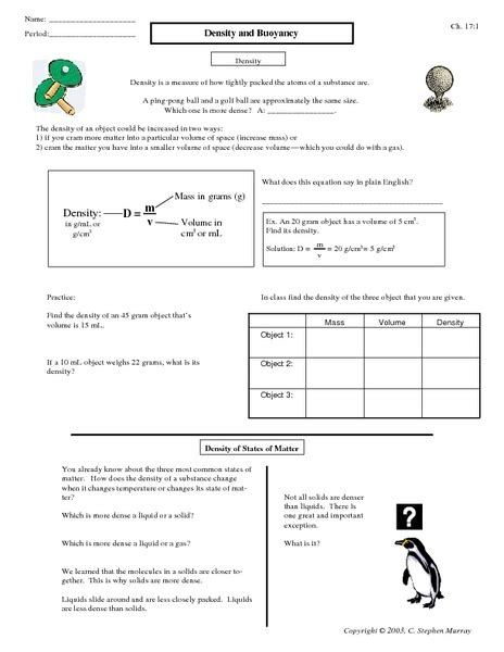 worksheets buoyancy worksheet opossumsoft worksheets and