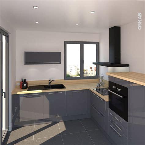 cuisine en l cuisine bleue grise contemporaine avec plan de travail