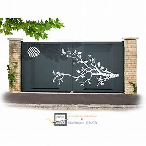 Modele De Portail Coulissant : portail battant aluminium mod le zen thermolaqu ~ Premium-room.com Idées de Décoration