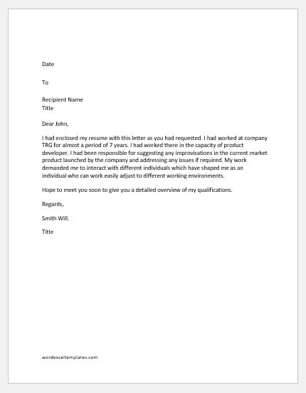 Exle Of Resume Letter by Letter In Response To The Request Made For Resume Word