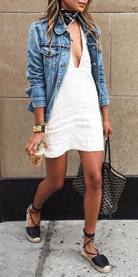 A nice white dress with a jean jacket - LadyStyle