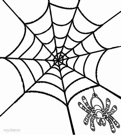 Spider Coloring Web Printable Pages Simple Halloween