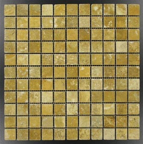 1x1 gold yellow tumble travertine tile on 12 in x 12 in