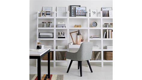sawyer white leaning desk with two 24 5 quot bookcases crate and barrel