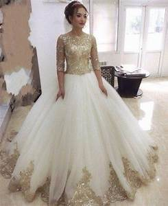gorgeous gold lace appliques wedding dresses with half With gold wedding dresses with sleeves