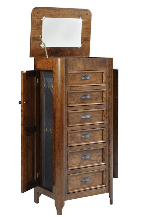 Transitional Six Drawer Jewelry Armoire With Hidden