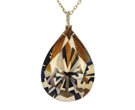 geometric marquetry pendant necklace  diamonds