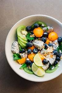 Summer, Tropical, Fruit, Bowl, With, Ginger, Lime, Dressing