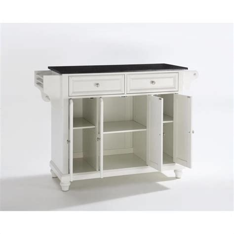 black granite top kitchen island crosley furniture cambridge solid black granite top kitchen island in white finish kf30004dwh