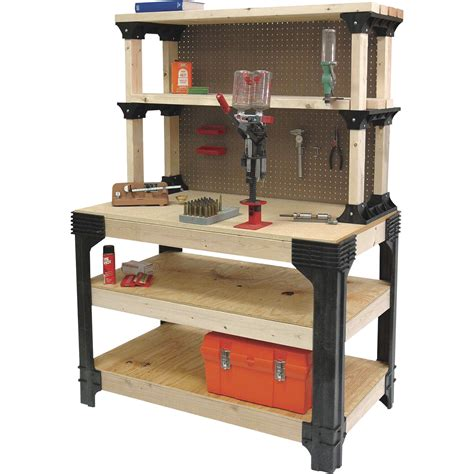 2x4 basics reloading bench 2x4 basics anysize workbench kit with shelflinks model