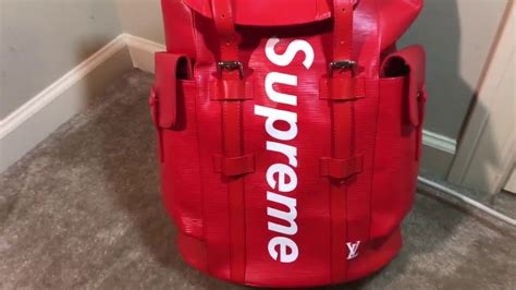 real  fake louis vuitton  supreme christopher backpack epi pm red youtube