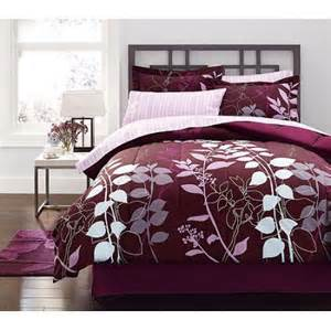 mainstays orkaisi bed in a bag bedding set purple twin