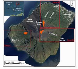 Testing Area  Stromboli Volcano With The Main Toponyms