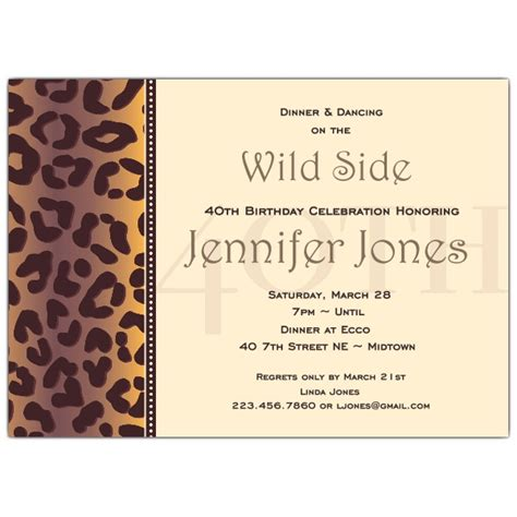 Cheetah 40th Birthday Invitations Paperstyle
