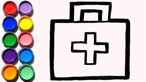 cara menggambar dan mewarnai tas perlengkapan dokter
