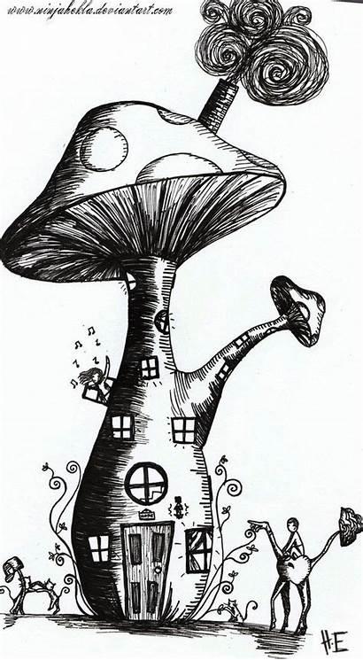 Mushroom Deviantart Drawings Fairy Drawing Sketches Coloring