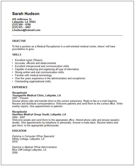 Resume Objective For Receptionist by Receptionist Resume Exle Free Templates Collection