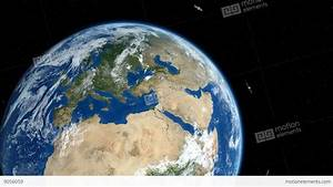 Earth Zoom Out To Space. Satellites And Moon Orbiting ...