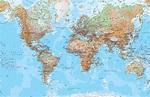 Physical World Map Mural Wallpaper   Murals Wallpaper