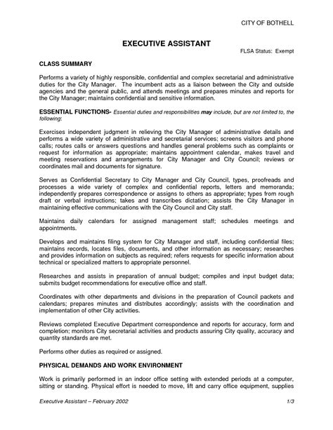 Assistant Description For Resume by Doc 596842 Executive Assistant Resume Exle Sle Description Bizdoska