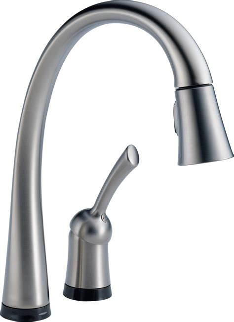 one touch kitchen faucet delta 980t dst pilar single handle pull down kitchen faucet with touch2o technology chrome