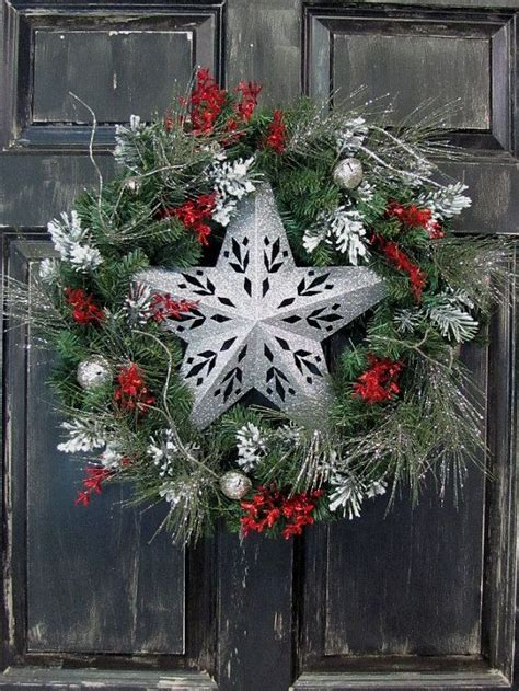 silver star wreath primitive christmas decor christmas