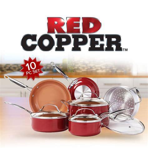 red copper  piece cookware set cookware set pots pans sets red copper cookware