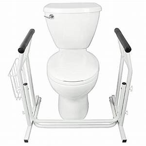 Senior health aids buy stand alone toilet rail by vive for Bathroom assistance devices