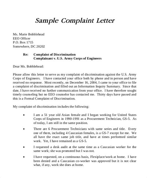 sample formal complaint letter  examples  word
