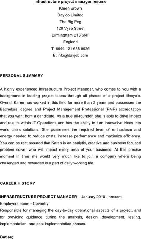 project manager resume template for free