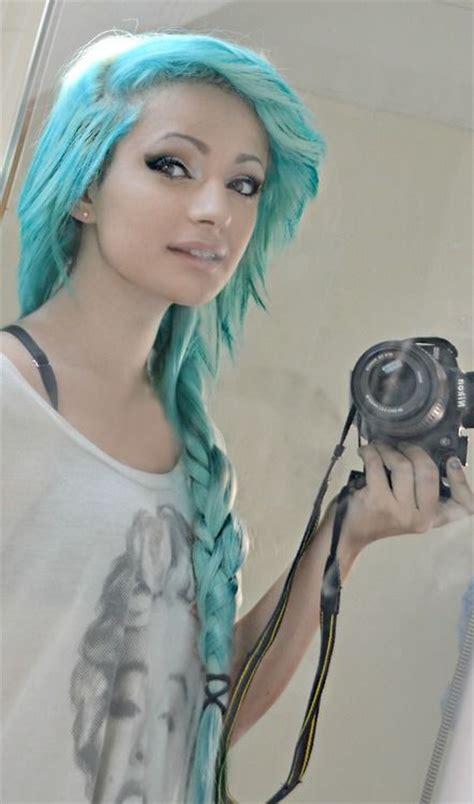 Blue Dyed Scene Hair Pretty Hairrrr Pinterest